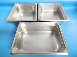 Syscoware 5365069 4 Deep 6 0 Qts Stainless Half Size Steam Table Pans Lot Of 3