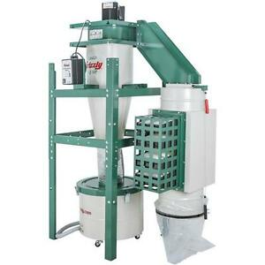 G0443hep Grizzly 1 1 2 Hp Dual filtration Hepa Cyclone Dust Collector