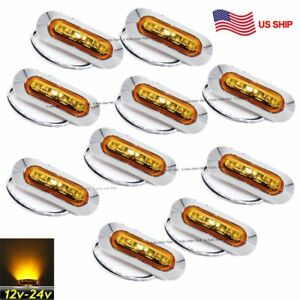 10x 12v 24v 4 Smd Amber Side Led Marker Tail Light Clearance Truck Trailer Us
