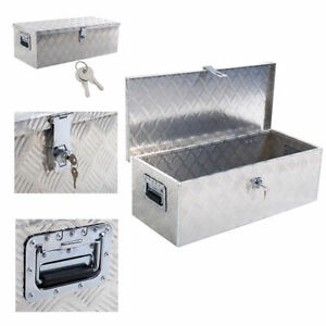 30 l Aluminum Truck Pickup Bed Trailer Atv Tongue Lockable Tool Box W Lock