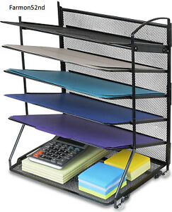 Desktop Document Letter Tray Organizer Black 6 Trays New Home Office