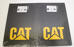 2x Large Caterpillar Cat Mud Flap Black With Raised Cat Logo 4x4 Ute 4wd