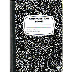 48 Marble Composition Notebooks Black Cover back 100 Sheets Wide Rule