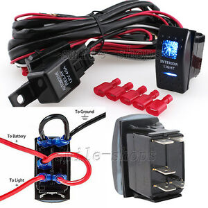 12v On off 5 Pins Blue Interior Light Rocker Switch Kit With Relay Wiring Harnes