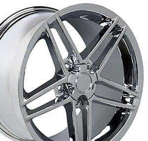 18x9 5 Wheels Fit Camaro Corvette C6 Z06 Chrome Rims W1x Set