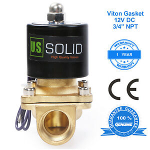 U S Solid 3 4 Brass Electric Solenoid Valve 12v Dc Nc Viton Semi direct