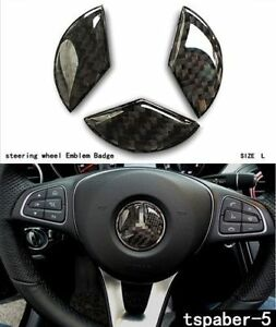 45 Mm Carbon Fiber Steering Wheel Emblem Badge Cover Decal Sticker Mercedes Benz