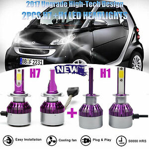 4pcs 400w H1 h7 Combo Car Led Headlight Bulbs Kit High Low Beam For Smart Fortwo