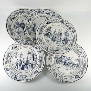 Antique French 6pc Plates Commemorating The Revolution Blue White Luneville