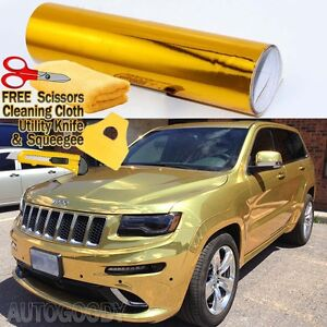 24 X 60 Gold Chrome Mirror Vinyl Film Wrap Sticker Decal Stretchable 2ft X 5ft