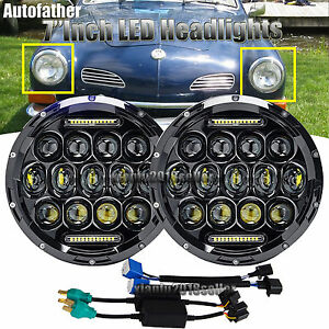 For Volkswagen Vw Beetle Classic 7inch Round Led Upgrade Drl Headlights Kit Lamp
