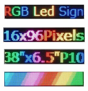 Led Sign Full Color 38 x 6 5 P10 Programmable Scrolling Message Display