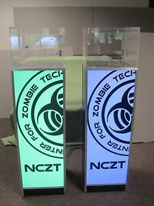 2x Free Standing Led Light Retail Color Base Tower Cabinet Display Case Pedestal