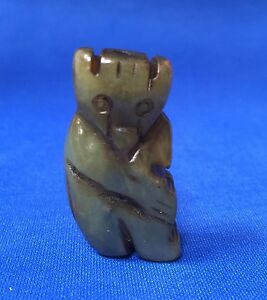 Antique Green Jade Carved Monkey Figurine Statue