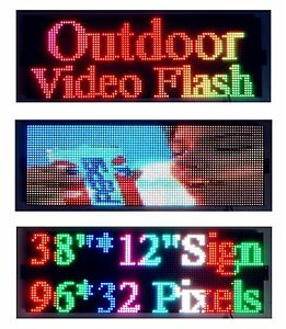 Led Sign Outdoor Video Full Color 38 x12 Programmable Scrolling Message Display