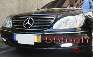 Mercedes Benz W220 S430 S500 Grill Grille S55 03 06 Black 5 Fins Cl Style Grille