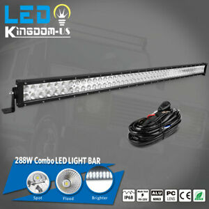 50inch 288w Led Light Bars Flood Spot Combo Roof Driving Truck Boat Suv 4wd 52