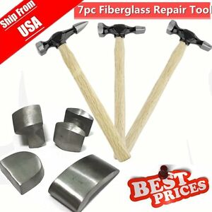 New 7pc Fiberglass Handle Fender Auto Body Repair Tool Kit Hammer Dolly Dent H1