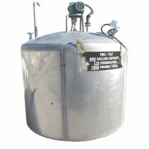 Used 800 Gallon Stainless Steel Liquid Mix Tank With Mixer