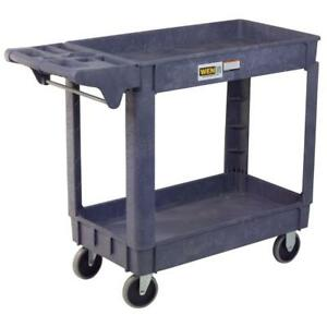 Durable Service Cart Plastic Rubber Casters Rigid Swivel Utility Cart 500lb