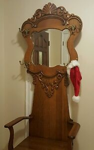 Ant American Oak Hall Tree Beveled Mirror Storage Seat Wood Craved Brass Hooks