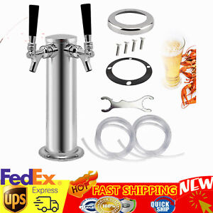Double 2 Tap Stainless Steel Draft Beer Tower Kegerator Chrome Faucets 3 76mm