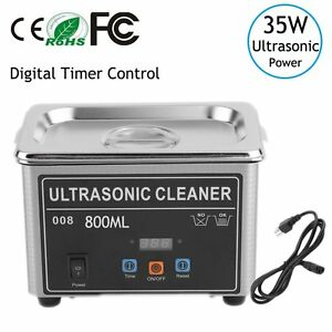 Stainless Steel Industry Lab Ultrasonic Jewelry Glasses Cleaner 800ml W timer Oy