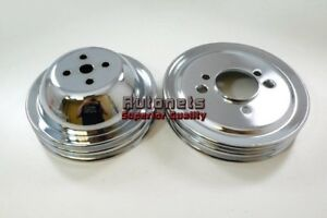 Chrome Steel Pulley Big Block Chevy Short Water Pump Double 2 Groove Bbc Swp 454