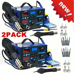 2x 2 In 1 Soldering Iron Rework Stations Smd Hot Air Gun Desoldering Welder 862d