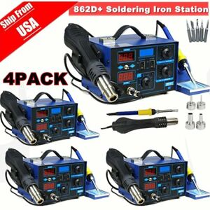 4x 2 In 1 Soldering Iron Rework Stations Smd Hot Air Gun Desoldering Welder 862d