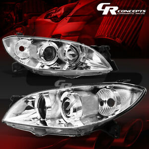 Pair Chrome Housing Clear Corner Headlight lamps Direct Lh rh For 04 09 Mazda 3
