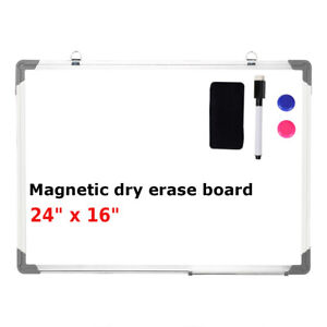 24 x16 Magnetic Whiteboard Office Dry Wipe Drawing Writing Erase Board School