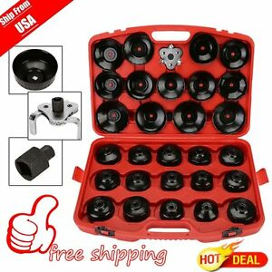 Us Auto Cup Type Oil Filter Cap Wrench Socket Removal Tool Set W case 30pcs Pro