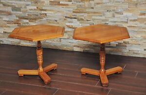 Pair Cushman Colonial Creations End Tables Cushman Antique Hexagon Low Tables