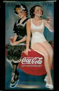 Coca Cola Bathing Beauty Tin Sign Tin Sign 3D Embossed Arched 7 7/8x11 13/16in