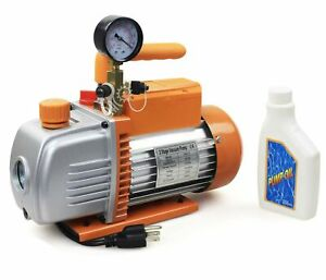 New Bacoeng 5 Cfm 2 Stage Rotary 110v 1 2hp Vane Vacuum Pump Hvac With Gauge