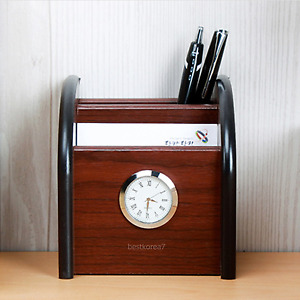 Home Office Business Card Pen Holder Desktop Stationery Storage Desk Organizer