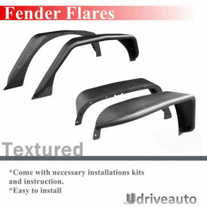 New 4 Pcs Textured Steel Flat Fender Flares a Fit 2007 2018 Jeep Wrangler Jk