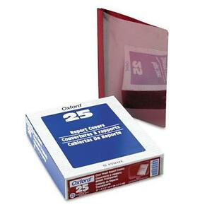 Oxford 58811 Premium Paper Clear Front Cover 3 Fasteners Letter Red 25 box