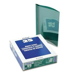 Oxford Premium Paper Clear Front Cover 3 Fasteners Letter Green 25 box 58817