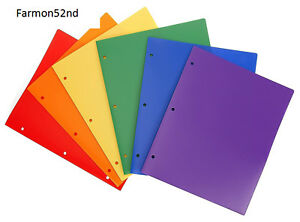 2 Pocket Folder Hole Punched Assorted Colors Pack Of 6 Heavy Duty Plastic New