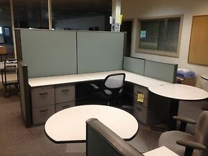4 Office Cubicles With File Cabinets And End Tables Dividers Included