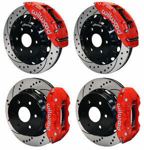 Wilwood Disc Brake Kit 99 18 Sierra Avalanche Yukon Xl 16 14 Drilled Rotors Red