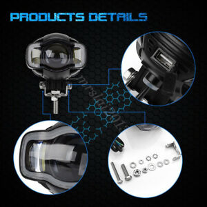 Universal Motorcycle 20w Led Auxiliary Passing Spot Fog Lights Switch Kits