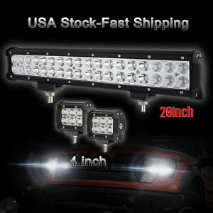 20 Inch Cree Led Light Bar 2x 4 Pods Suv Atv Off Road Truck Jeep Boat Driving