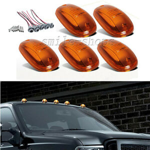 5pcs Amber Cab Roof Marker Running Light Covers For 03 16 Dodge Ram 2500 3500