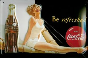 Coca Cola Sailing Girl Metal Sign Signboard 3D Embossed Arched Tin 7 7/8x11