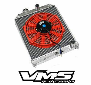Vms Racing Aluminum Dual Core Radiator Rd Slim Fan For 96 98 Honda Civic