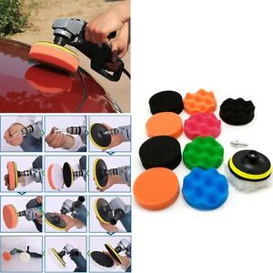 11 Pcs 3 4 5 6 7 Buffing Sponge Polishing Pad Kit Set For Car Polisher Buffer