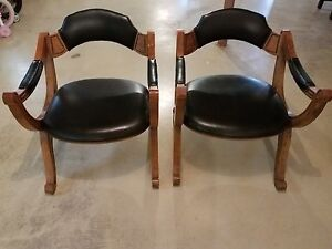 Pair Vintage Drexel Heritage Black Arm Chair 1970 S X Dante Savonarola Chairs